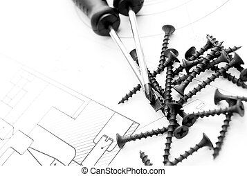 Screws, screw-drivers and the drawing.