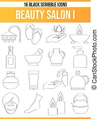 Scribble Black Icon Set Beauty Salon I