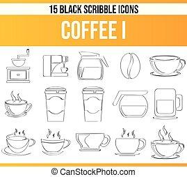 Scribble Black Icon Set Coffee I
