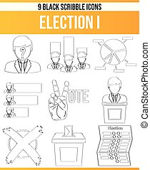 Scribble Black Icon Set Election I - Black pictograms /...