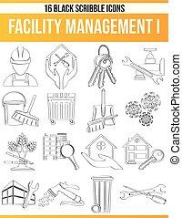 Scribble Black Icon Set Facility Management I - Black ...