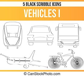 Scribble Black Icon Set Vehicle I