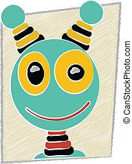 Scribble Cartoon Robot Head