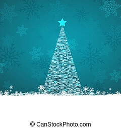 Scribble Christmas tree on a snowflake background