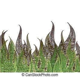 Scribble Fire In Green Grass. Vector