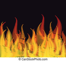 Scribble fire on black. Vector