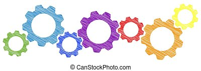 scribble gears for cooperation symbolism - colored scribble...