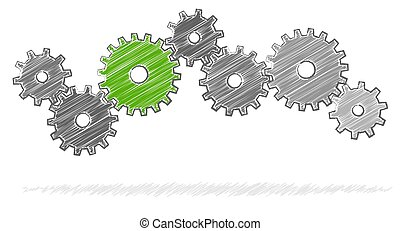 scribble gears for cooperation symbolism - gray scribble...