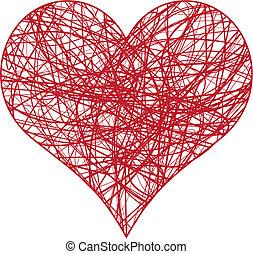 scribble heart - heart scribble with lines texture, vector