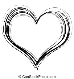 scribble heart - Love heart in black pencil scribble with a...