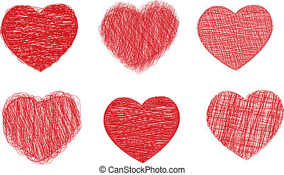 Set of six scribble heart icons, vector illustration