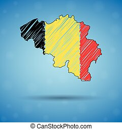 Scribble map of Belgium. Sketch Country map for infographic, brochures and presentations, Stylized sketch map of Belgium. Vector illustration