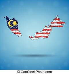 Scribble map of Malaysia. Sketch Country map for infographic, brochures and presentations, Stylized sketch map of Malaysia. Vector illustration