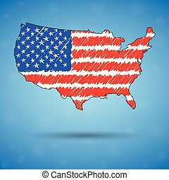 Scribble map of United States of America. Sketch Country map for infographic, brochures and presentations, Stylized sketch map of USA. Vector illustration