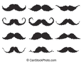 Scribble Moustaches Design Set Vector Illustration