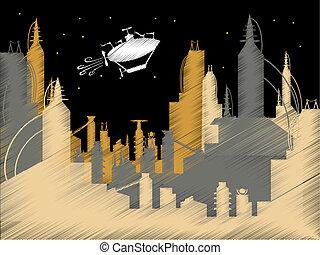 Scribble Science Fiction City Flyin - Childlike scribble...