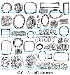 Scribble Doodles Sketchy Back to School Notebook Vector Illustration Design Elements on Lined Sketchbook Paper Background