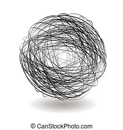 scribble single - Round scribble icon with drop shadow in...