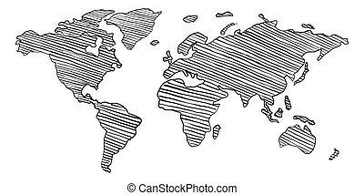 Scribble sketch of World map