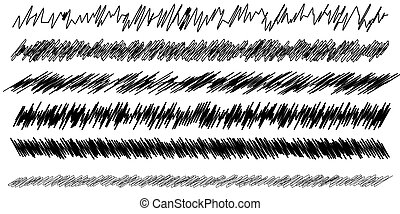 Scribble, sketch, sketchy doodle horizontal line dividers. Wavy, waving, wave and billowy, zigzag, criss-cross lines ? stock vector illustration, clip-art graphics