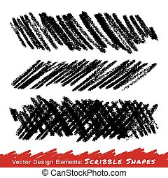 Scribble Smears Hand Drawn in Pencil, vector design elements