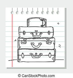 Scribble suitcases ,illustration