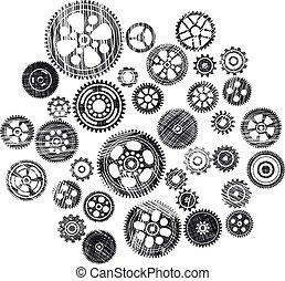 scribbled cogwheels and gears