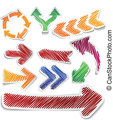 Scribbled color arrows set. - Scribbled collection of arrows...