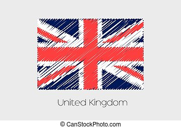 Scribbled Flag Illustration of the country of United Kingdom