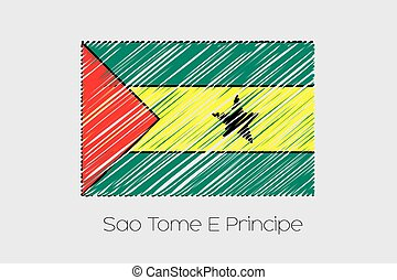 Scribbled Flag Illustration of the country of Sao Tome E...