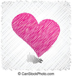 scribbled, forma., cuore