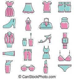 Scribbled girls related icon set