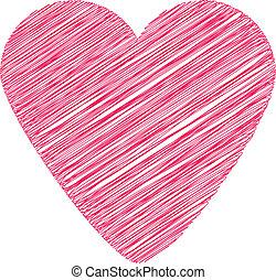 Scribbled heart shape. - Scribbled heart shape graphic...