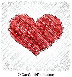 Scribbled heart shape.