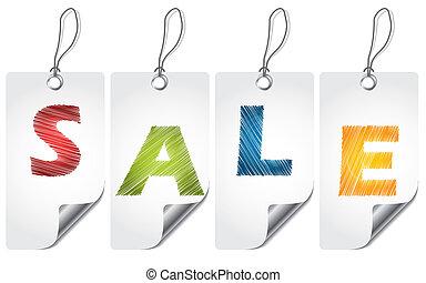 Scribbled sale label set