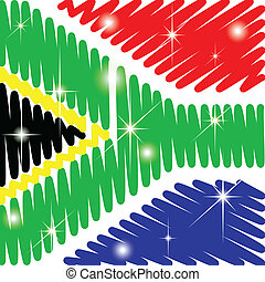 South Africa flag with shining