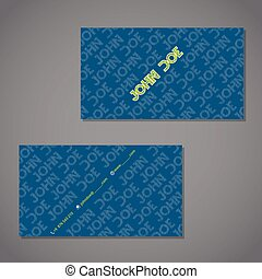 Scribbled text business card in blue with green