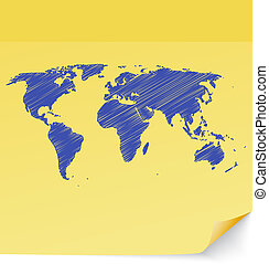 Scribbled world map drawn on a yellow sticky note