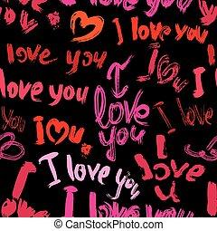 scribbles, aimez coeurs, coups, modèle, valentines, seamless, style., arrière-plan., brosse, mots, grunge, vous, jour