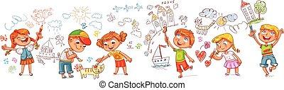 scribbles, immagini, ragazze, ragazzi, pareti, kindergarten., disegno