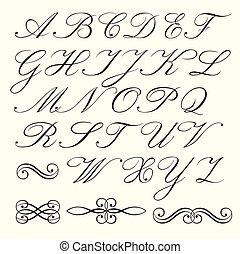 Script alphabet - Hand drawn script alphabet and ...