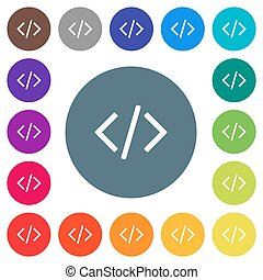 Script code flat white icons on round color backgrounds