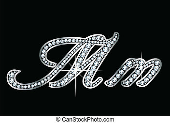 Script Diamond Bling Mm Letters Vec