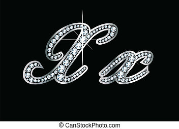 Script Diamond Bling Xx Letters