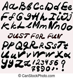 Script handwriting brush font. Vector alphabet