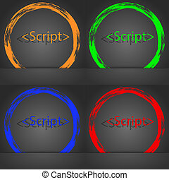 Script sign icon. Javascript code symbol. Fashionable modern style. In the orange, green, blue, red design.