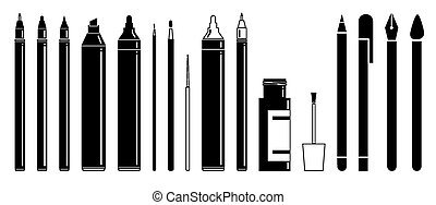 Scripting and drawing tools - Simple flat black and white...