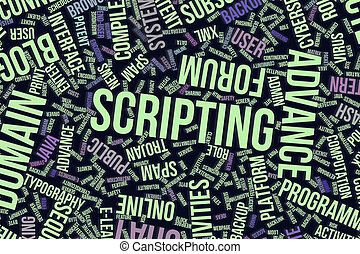 Scripting, conceptual word cloud for business, information technology or IT.