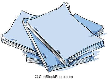 A cartoon pile of blank scripts.