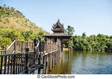 Scripture hall in the pond, Thailand.